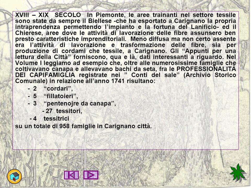 XVIII – XIX SECOLO In Piemonte, le aree trainanti nel settore tessile sono state da sempre il Biellese -che ha esportato a Carignano la propria intrap