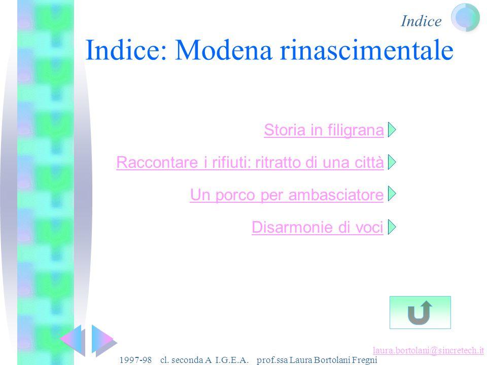 Indice laura.bortolani@sincretech.it 1997-98 cl.seconda A I.G.E.A.