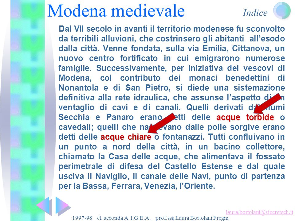 Indice laura.bortolani@sincretech.it 1997-98 cl.seconda A I.G.E.A.