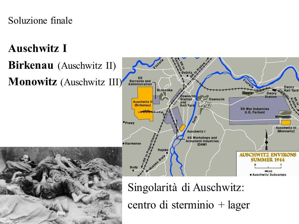 Soluzione finale Auschwitz I Birkenau (Auschwitz II) Monowitz (Auschwitz III) Singolarità di Auschwitz: centro di sterminio + lager