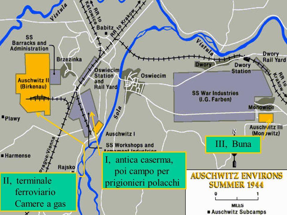 I, antica caserma, poi campo per prigionieri polacchi III, Buna II, terminale ferroviario Camere a gas