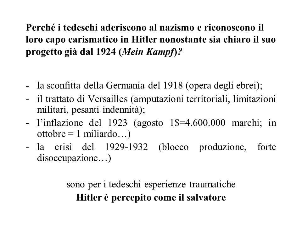 Perché i tedeschi aderiscono al nazismo e riconoscono il loro capo carismatico in Hitler nonostante sia chiaro il suo progetto già dal 1924 (Mein Kamp