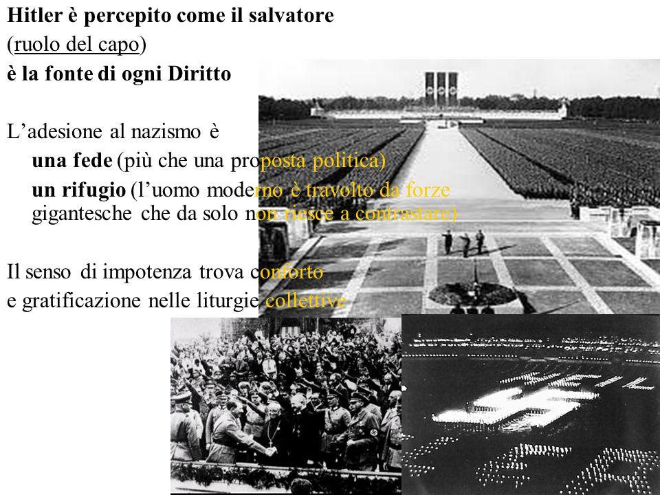(ruolo del capo) è la fonte di ogni Diritto L'adesione al nazismo è una fede (più che una proposta politica) un rifugio (l'uomo moderno è travolto da