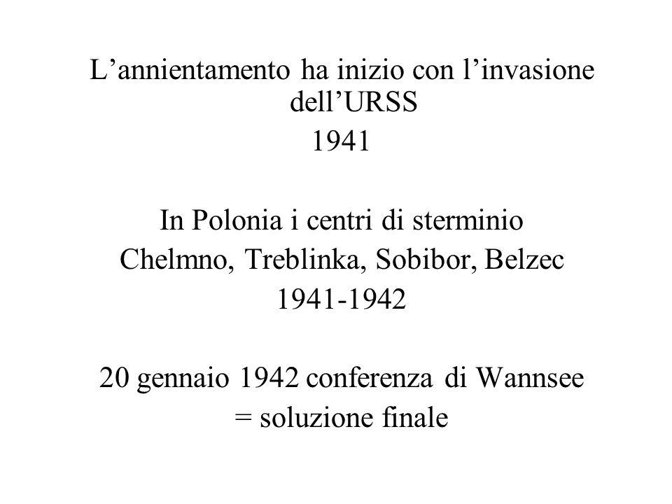 L'annientamento ha inizio con l'invasione dell'URSS 1941 In Polonia i centri di sterminio Chelmno, Treblinka, Sobibor, Belzec 1941-1942 20 gennaio 194