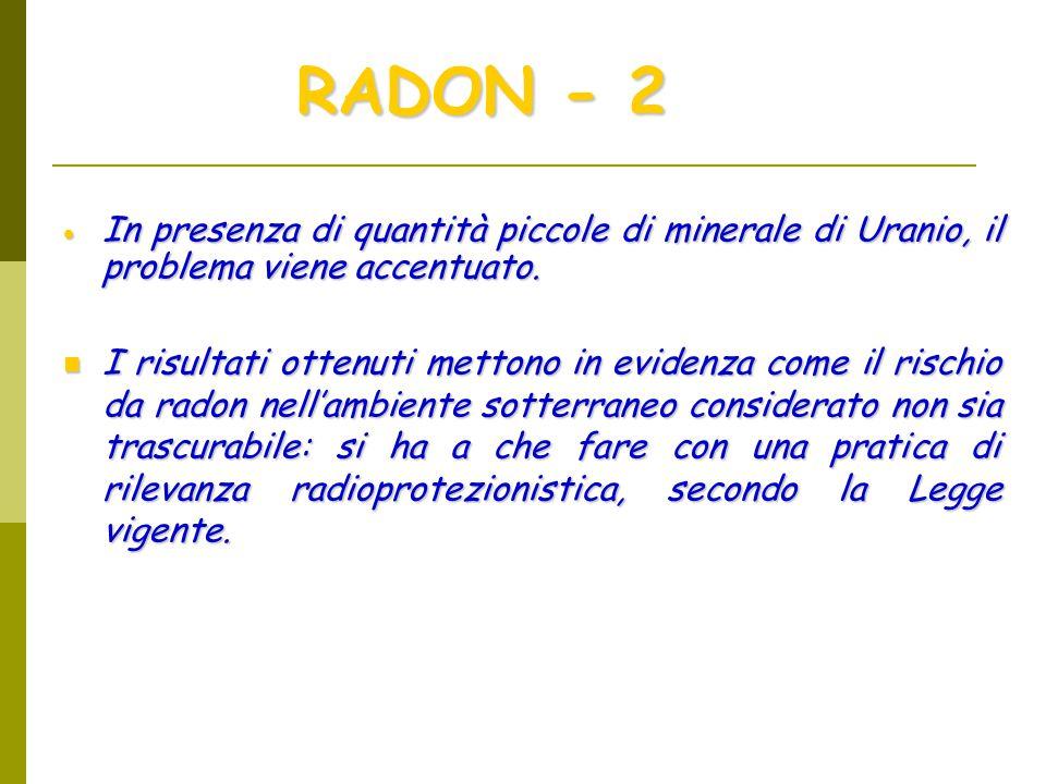  In presenza di quantità piccole di minerale di Uranio, il problema viene accentuato.