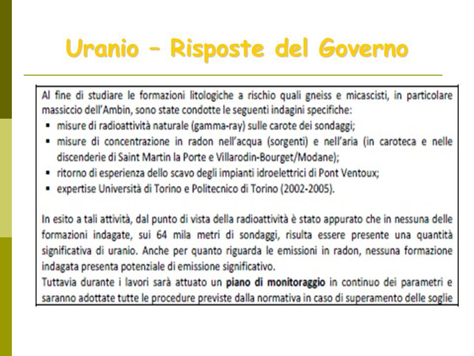 Uranio – Risposte del Governo