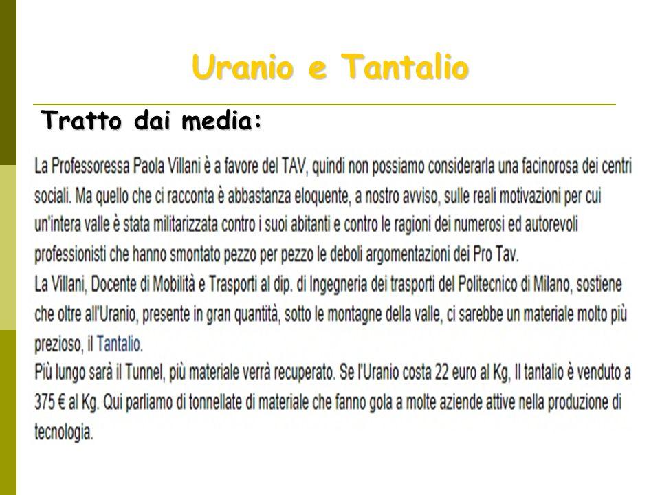 Uranio e Tantalio Tratto dai media: