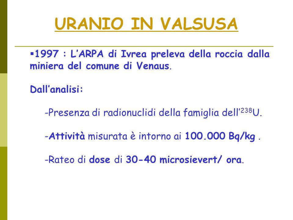 URANIO IN VALSUSA  1997 : L'ARPA di Ivrea preleva della roccia dalla miniera del comune di Venaus.