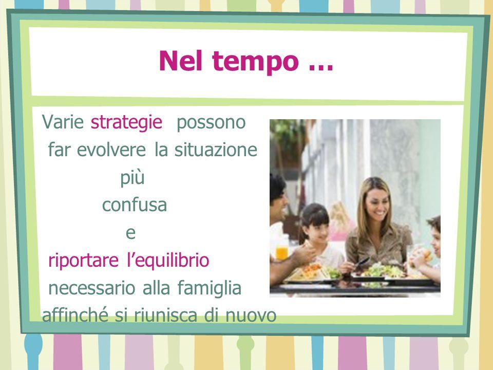 Nel tempo … Varie strategie possono far evolvere la situazione più confusa e riportare l'equilibrio necessario alla famiglia affinché si riunisca di nuovo