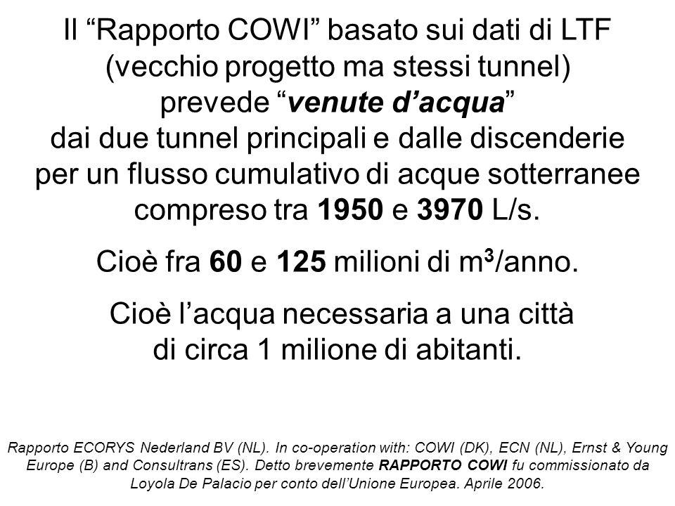 """Il """"Rapporto COWI"""" basato sui dati di LTF (vecchio progetto ma stessi tunnel) prevede """"venute d'acqua"""" dai due tunnel principali e dalle discenderie p"""