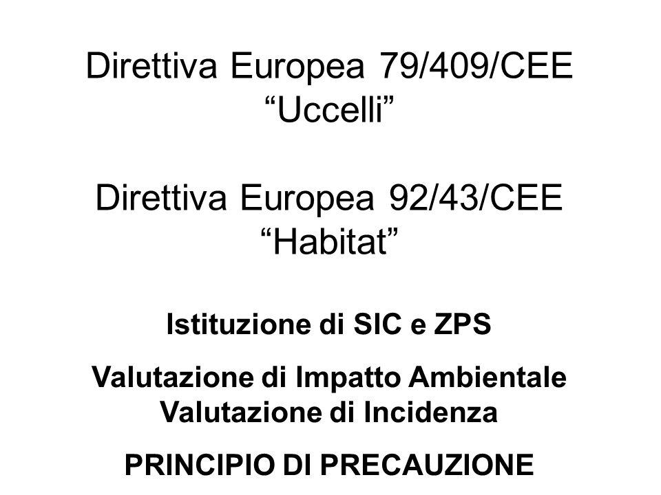 """Direttiva Europea 79/409/CEE """"Uccelli"""" Direttiva Europea 92/43/CEE """"Habitat"""" Istituzione di SIC e ZPS Valutazione di Impatto Ambientale Valutazione di"""