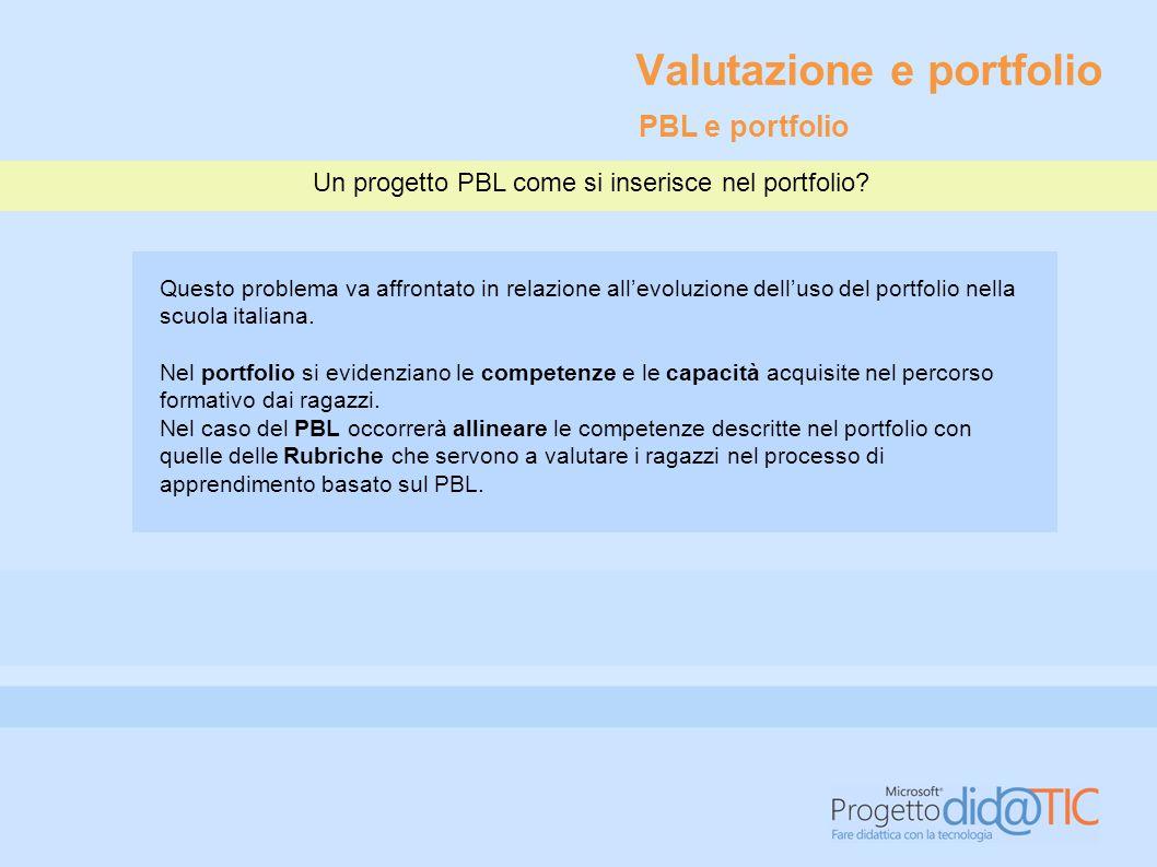 Un progetto PBL come si inserisce nel portfolio? Questo problema va affrontato in relazione all'evoluzione dell'uso del portfolio nella scuola italian