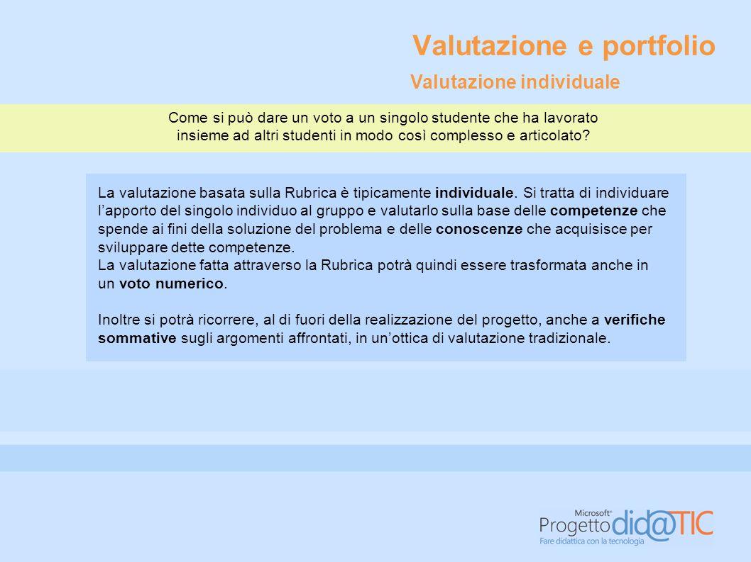 Valutazione e portfolio Progettare per unità d'apprendimento significa lavorare su obiettivi formativi.
