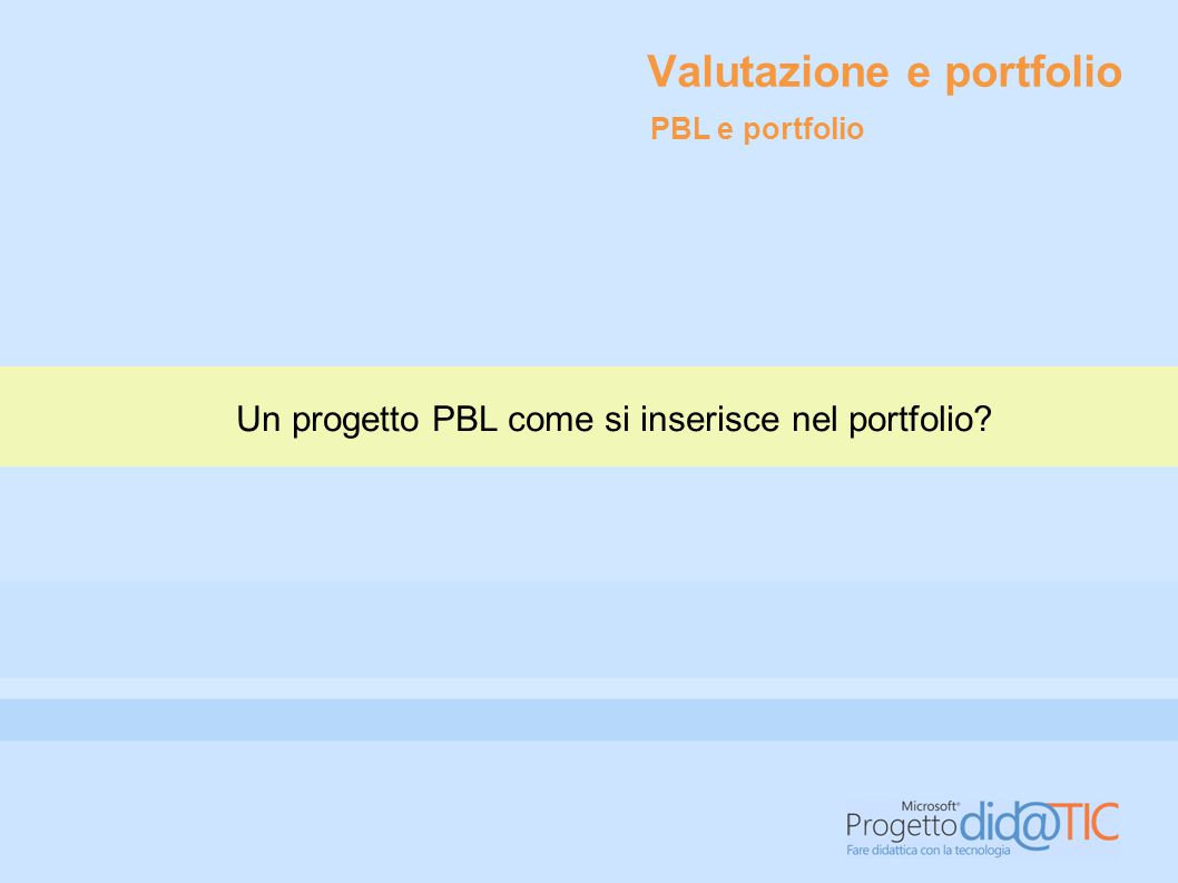 Valutazione e portfolio Un progetto PBL come si inserisce nel portfolio? PBL e portfolio