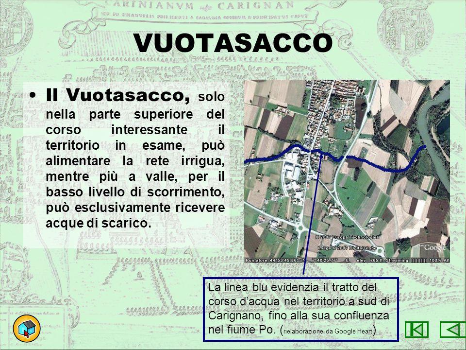 VUOTASACCO Il Vuotasacco, solo nella parte superiore del corso interessante il territorio in esame, può alimentare la rete irrigua, mentre più a valle