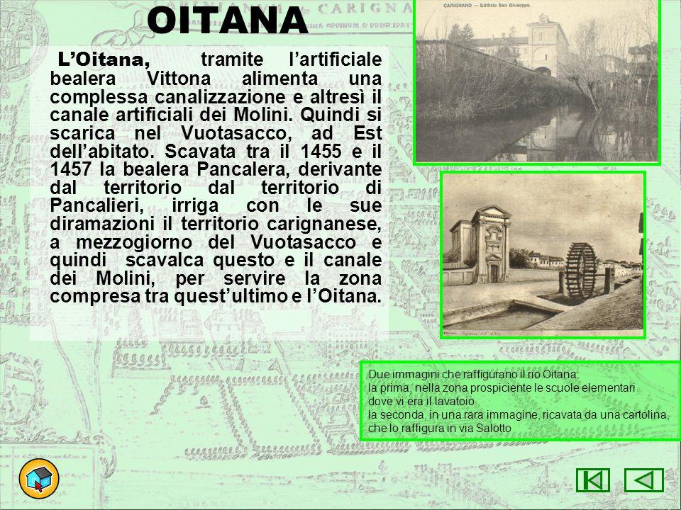 OITANA L'Oitana, tramite l'artificiale bealera Vittona alimenta una complessa canalizzazione e altresì il canale artificiali dei Molini. Quindi si sca