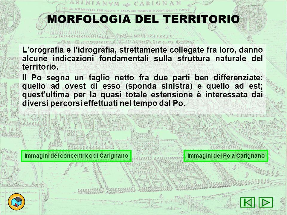 MORFOLOGIA DEL TERRITORIO L'orografia e l'idrografia, strettamente collegate fra loro, danno alcune indicazioni fondamentali sulla struttura naturale