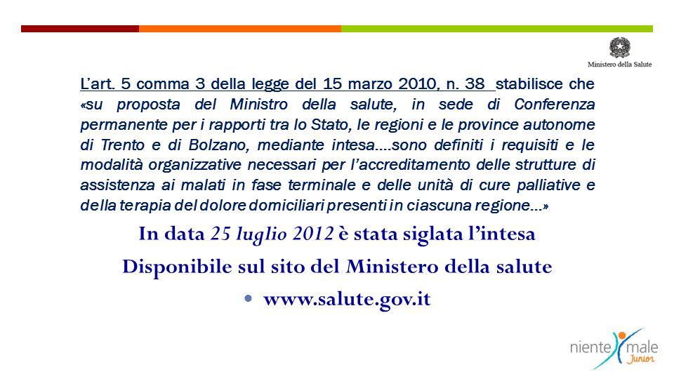 In data 25 luglio 2012 è stata siglata l'intesa Disponibile sul sito del Ministero della salute www.salute.gov.it L'art. 5 comma 3 della legge del 15