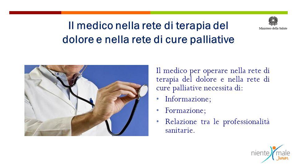 Il medico per operare nella rete di terapia del dolore e nella rete di cure palliative necessita di: Informazione; Formazione; Relazione tra le profes