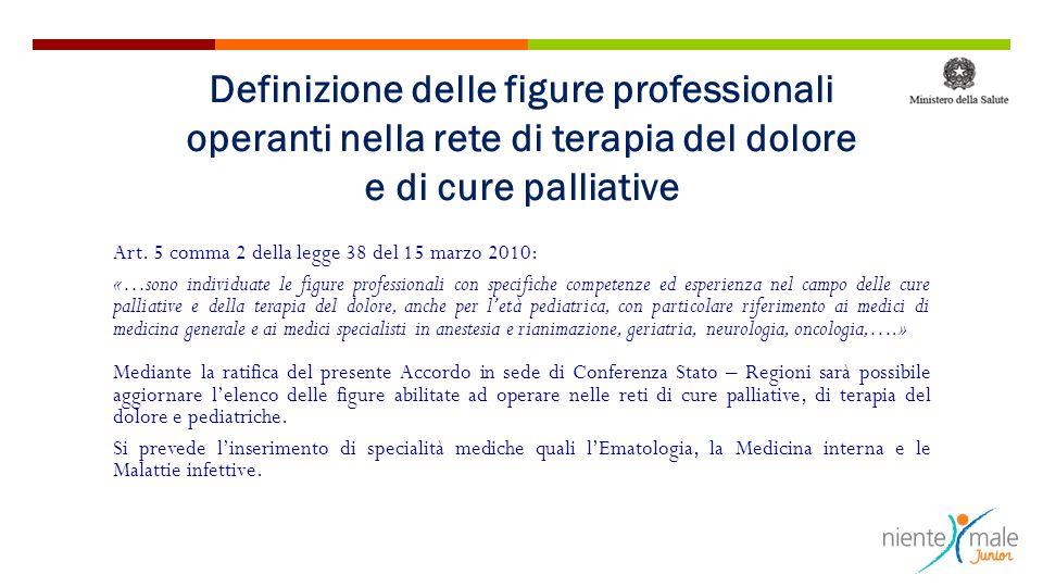 Art. 5 comma 2 della legge 38 del 15 marzo 2010: «…sono individuate le figure professionali con specifiche competenze ed esperienza nel campo delle cu