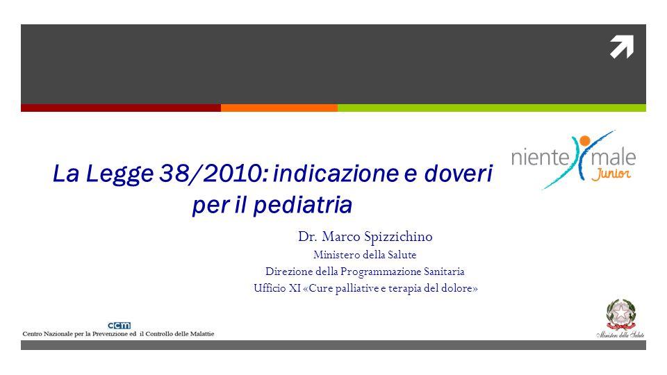 Dr. Marco Spizzichino Ministero della Salute Direzione della Programmazione Sanitaria Ufficio XI «Cure palliative e terapia del dolore» La Legge 38/20