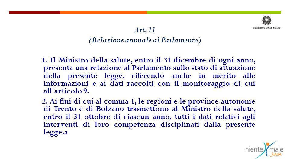 Art. 11 (Relazione annuale al Parlamento) 1. Il Ministro della salute, entro il 31 dicembre di ogni anno, presenta una relazione al Parlamento sullo s