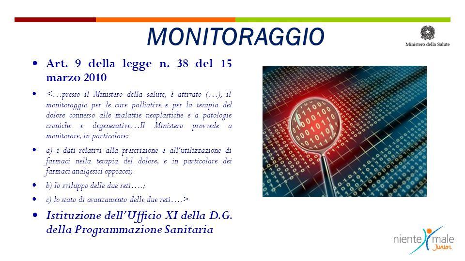 Art. 9 della legge n. 38 del 15 marzo 2010 <…presso il Ministero della salute, è attivato (…), il monitoraggio per le cure palliative e per la terapia