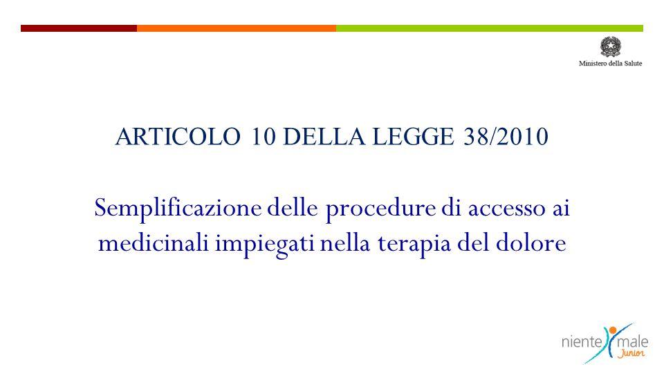 Semplificazione delle procedure di accesso ai medicinali impiegati nella terapia del dolore ARTICOLO 10 DELLA LEGGE 38/2010
