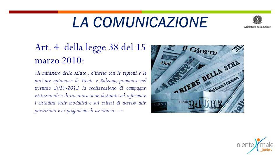 Art. 4 della legge 38 del 15 marzo 2010: «Il ministero della salute, d'intesa con le regioni e le province autonome di Trento e Bolzano, promuove nel