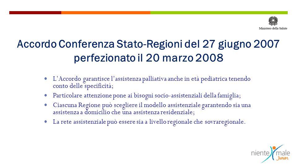Accordo Conferenza Stato-Regioni del 27 giugno 2007 perfezionato il 20 marzo 2008 L'Accordo garantisce l'assistenza palliativa anche in età pediatrica