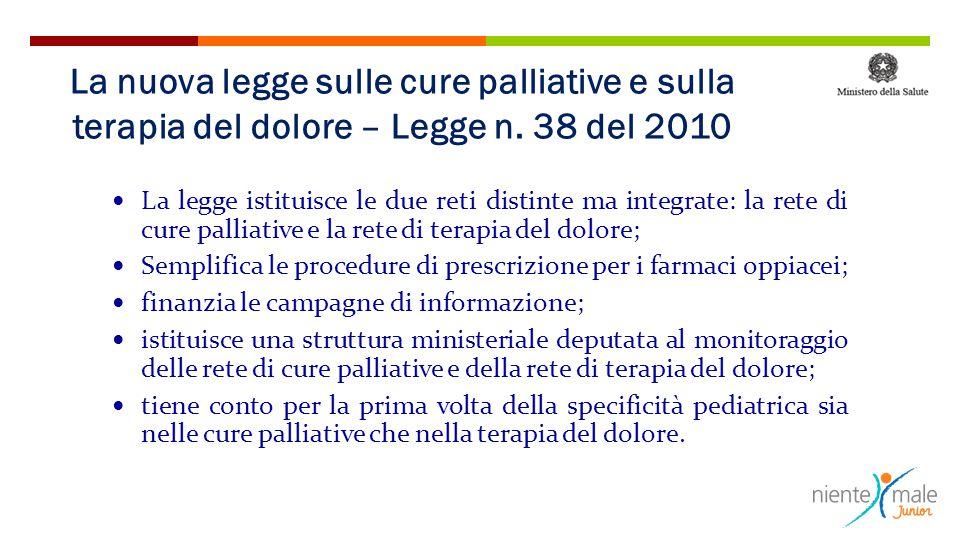 La legge istituisce le due reti distinte ma integrate: la rete di cure palliative e la rete di terapia del dolore; Semplifica le procedure di prescriz
