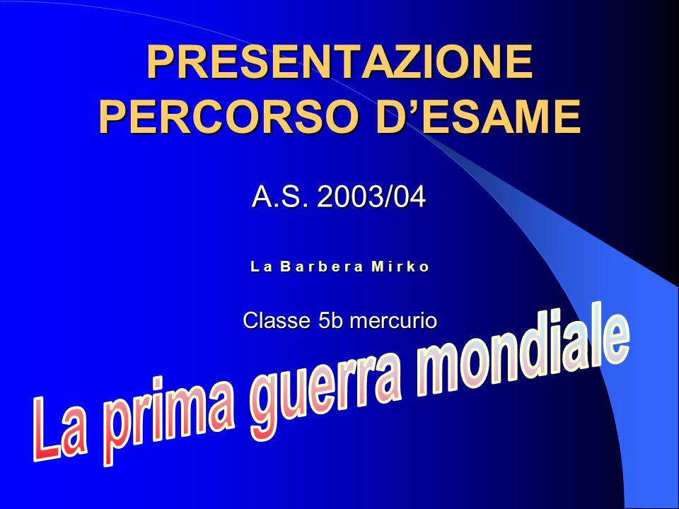 PRESENTAZIONE PERCORSO D'ESAME L a B a r b e r a M i r k o A.S. 2003/04 Classe 5b mercurio