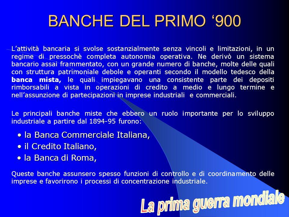 L'attività bancaria si svolse sostanzialmente senza vincoli e limitazioni, in un regime di pressochè completa autonomia operativa.