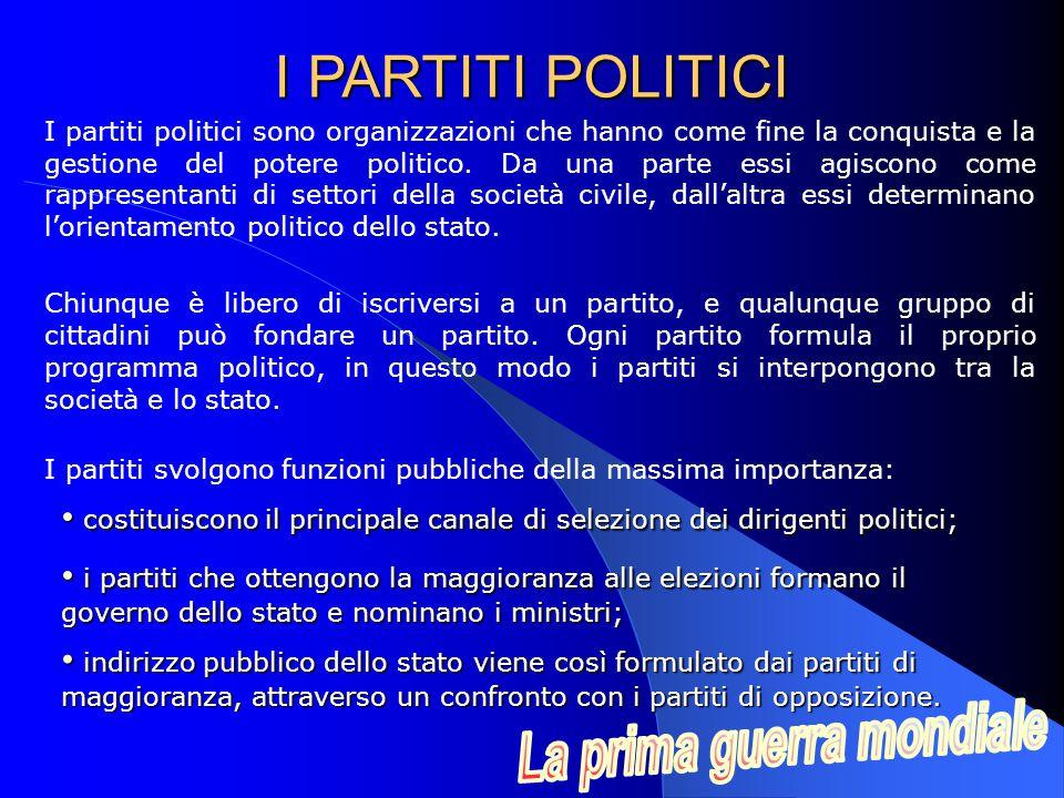 I partiti politici sono organizzazioni che hanno come fine la conquista e la gestione del potere politico.