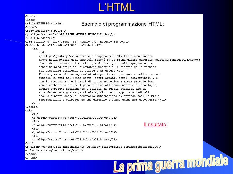 L'HTML Esempio di programmazione HTML: Il risultatoIl risultato: