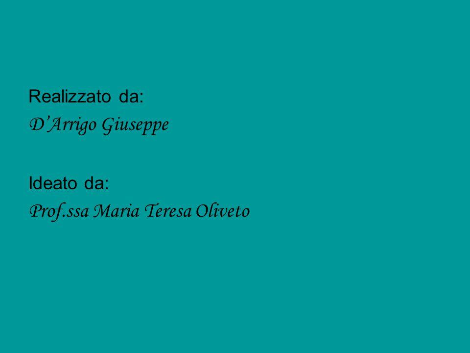 Realizzato da: D'Arrigo Giuseppe Ideato da: Prof.ssa Maria Teresa Oliveto