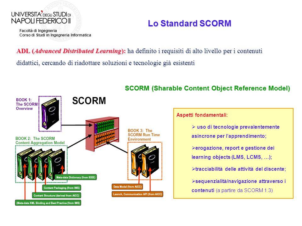Facoltà di Ingegneria Corso di Studi in Ingegneria Informatica Lo Standard SCORM ADL (Advanced Distributed Learning): ha definito i requisiti di alto
