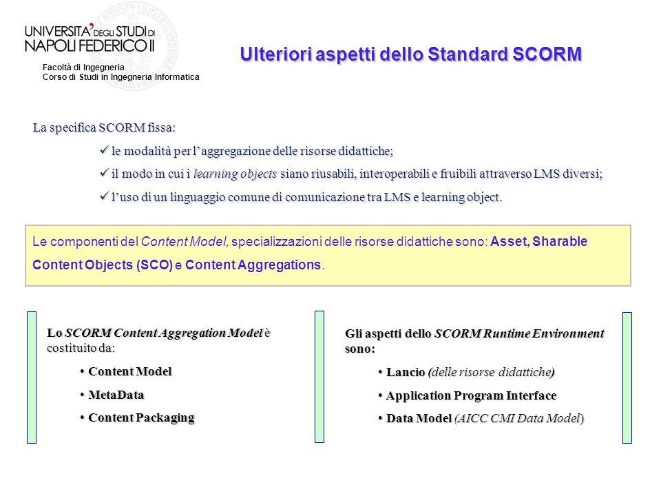 Facoltà di Ingegneria Corso di Studi in Ingegneria Informatica Ulteriori aspetti dello Standard SCORM La specifica SCORM fissa: le modalità per l'aggr