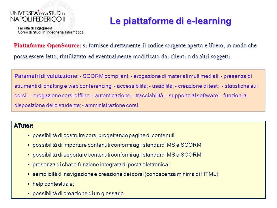 Facoltà di Ingegneria Corso di Studi in Ingegneria Informatica Le piattaforme di e-learning Piattaforme OpenSource: si fornisce direttamente il codice