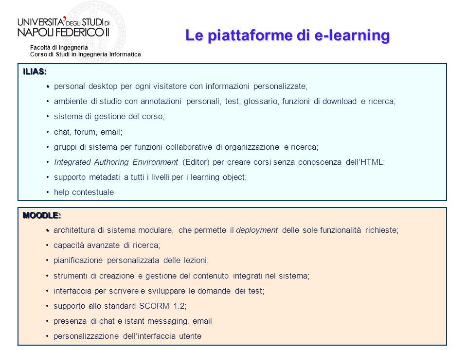 Facoltà di Ingegneria Corso di Studi in Ingegneria Informatica Le piattaforme di e-learning ILIAS: personal desktop per ogni visitatore con informazio