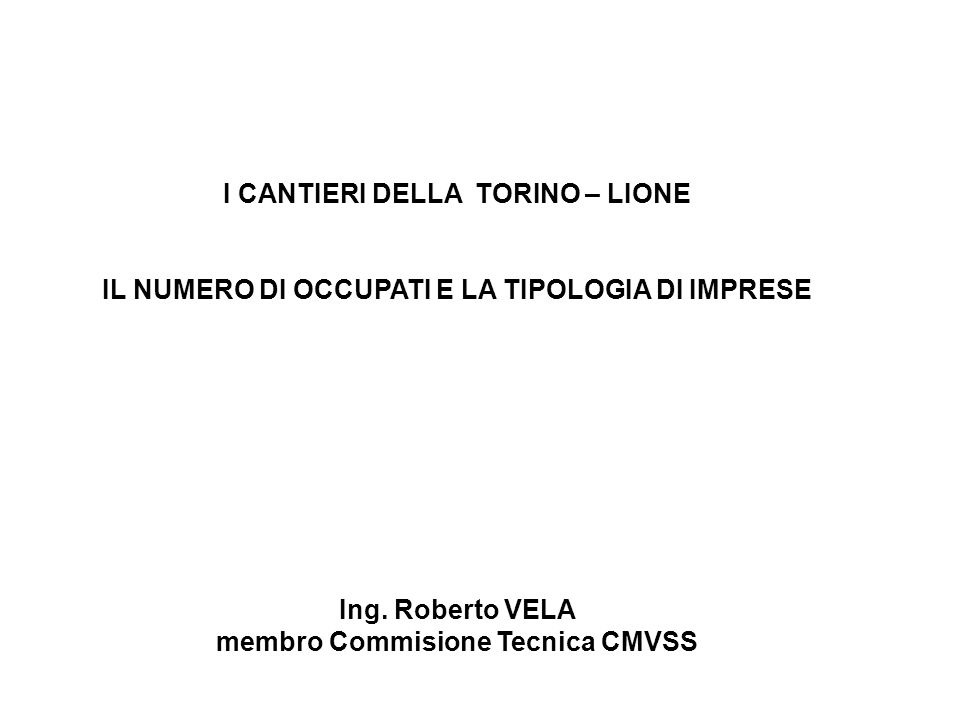 I CANTIERI DELLA TORINO – LIONE IL NUMERO DI OCCUPATI E LA TIPOLOGIA DI IMPRESE Ing.