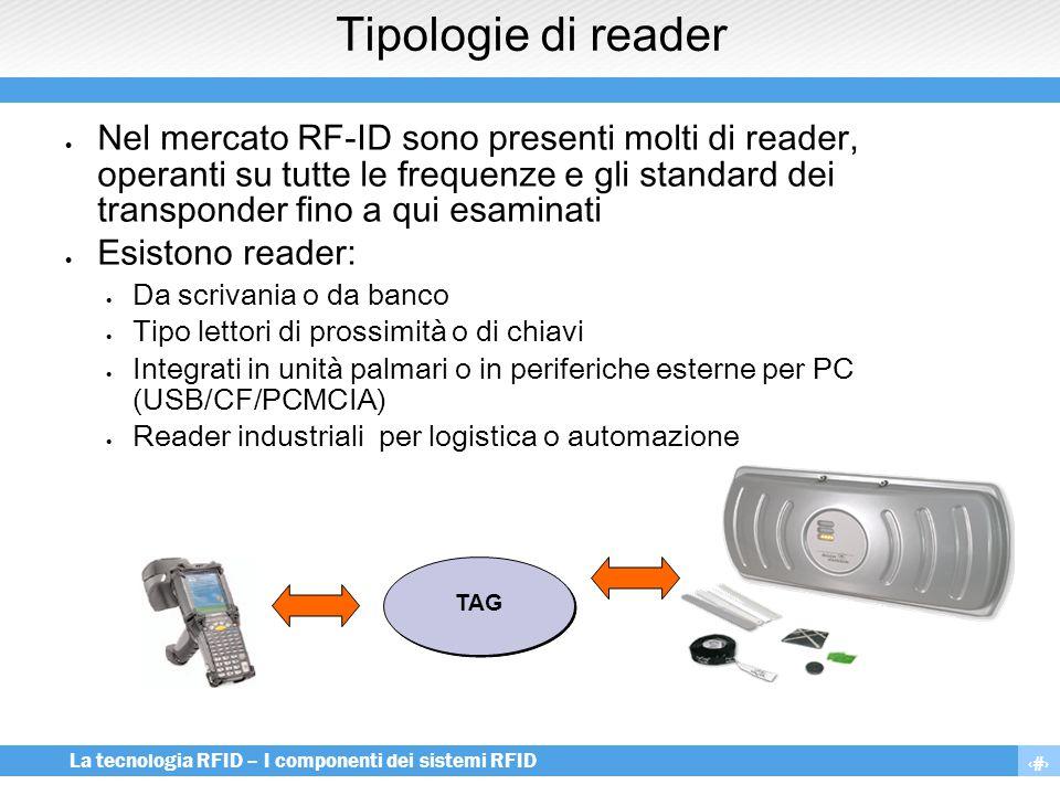 10 La tecnologia RFID – I componenti dei sistemi RFID Tipologie di reader  Nel mercato RF-ID sono presenti molti di reader, operanti su tutte le freq