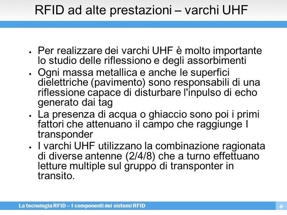 14 La tecnologia RFID – I componenti dei sistemi RFID RFID ad alte prestazioni – varchi UHF  Per realizzare dei varchi UHF è molto importante lo stud