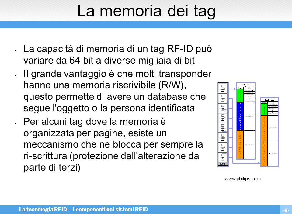 3 La tecnologia RFID – I componenti dei sistemi RFID La memoria dei tag  La capacità di memoria di un tag RF-ID può variare da 64 bit a diverse migli