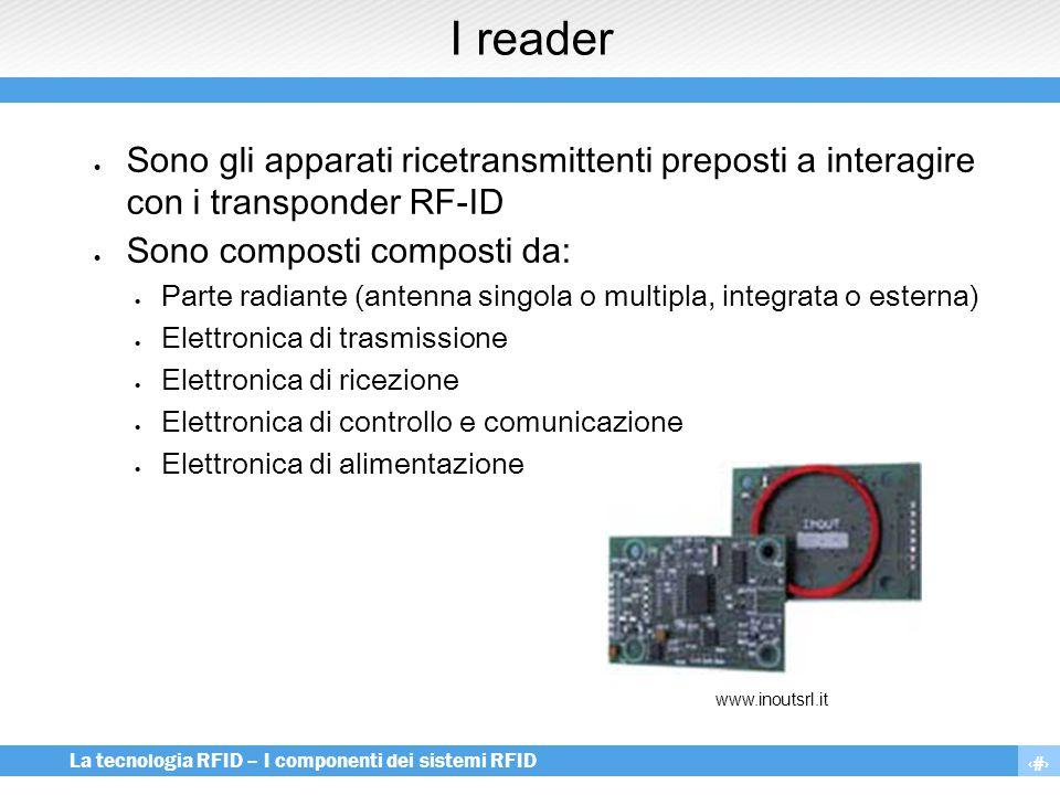 7 La tecnologia RFID – I componenti dei sistemi RFID I reader  Sono gli apparati ricetransmittenti preposti a interagire con i transponder RF-ID  So