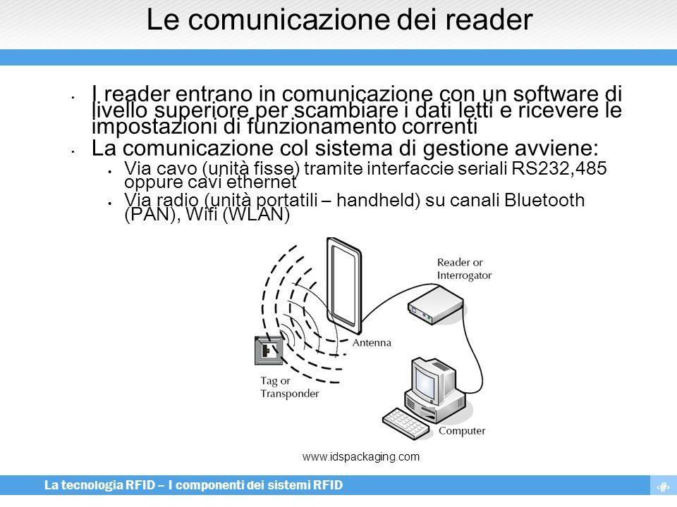 9 La tecnologia RFID – I componenti dei sistemi RFID Le comunicazione dei reader I reader entrano in comunicazione con un software di livello superior