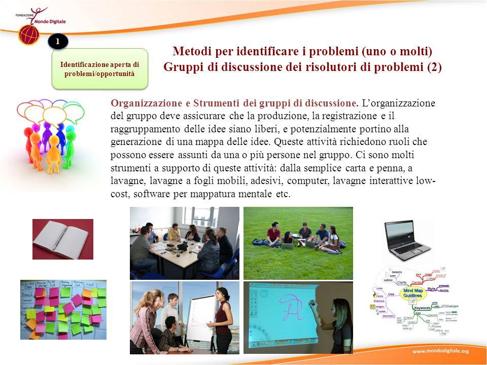Organizzazione e Strumenti dei gruppi di discussione. L'organizzazione del gruppo deve assicurare che la produzione, la registrazione e il raggruppame