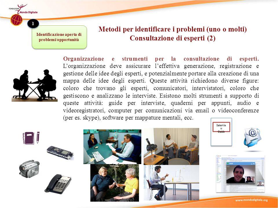 Organizzazione e strumenti per la consultazione di esperti.