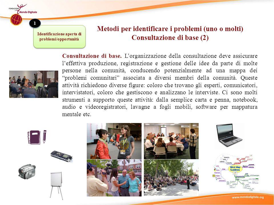 Consultazione di base. L'organizzazione della consultazione deve assicurare l'effettiva produzione, registrazione e gestione delle idee da parte di mo