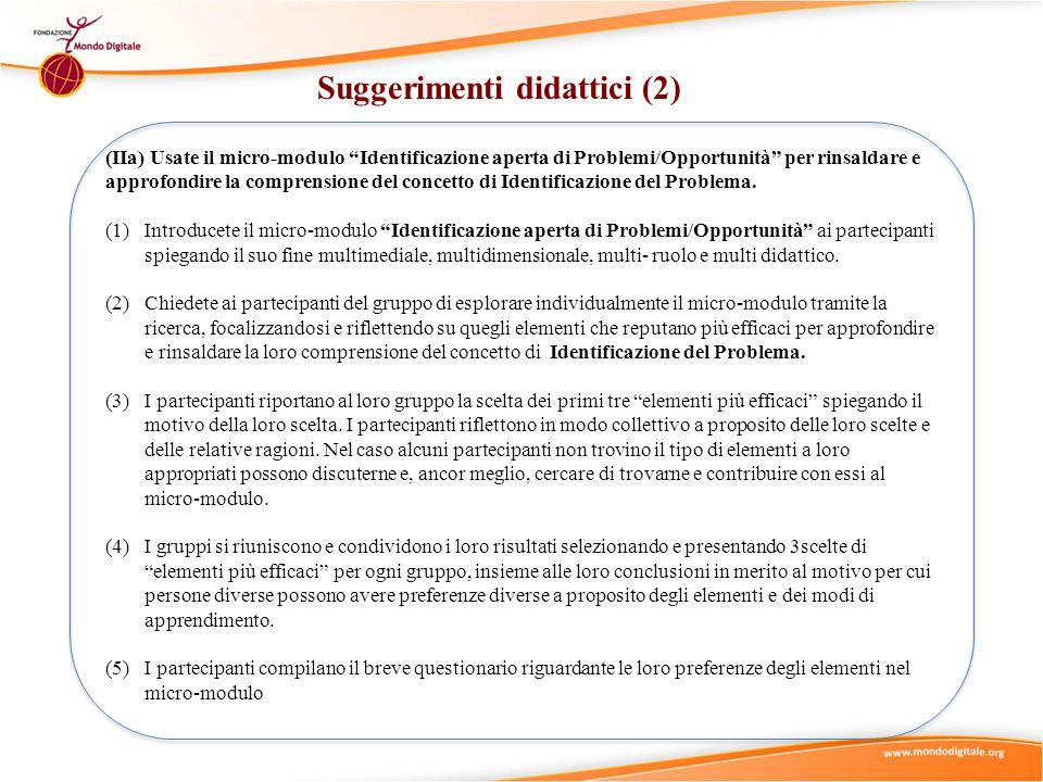 """Suggerimenti didattici (2) (IIa) Usate il micro-modulo """"Identificazione aperta di Problemi/Opportunità"""" per rinsaldare e approfondire la comprensione"""